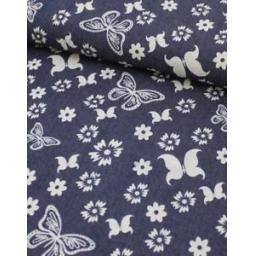 Denim-Fabric-Print-Floral-Butterfly-Dark-Blue