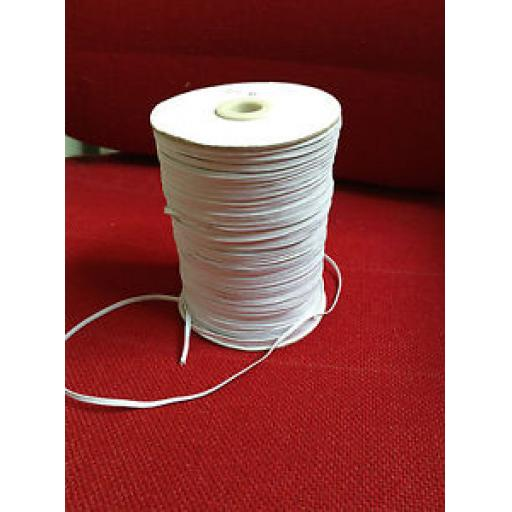 WHITE BRAIDED LACE FLAT ELASTIC (4mm) x 4 mtrs