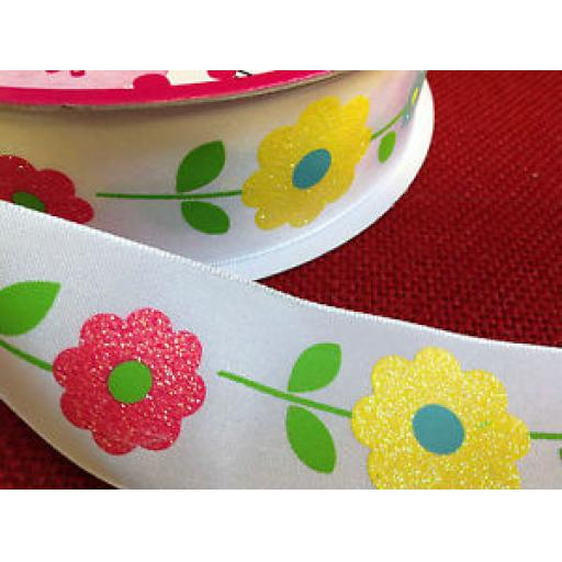 WIRE EDGED RIBBON - DAISY CHAIN