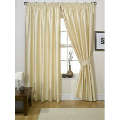 "ONE PAIR LINED FAUX SILK PENCIL PLEAT CURTAINS - CHAMPAGNE 90"" x 90"""