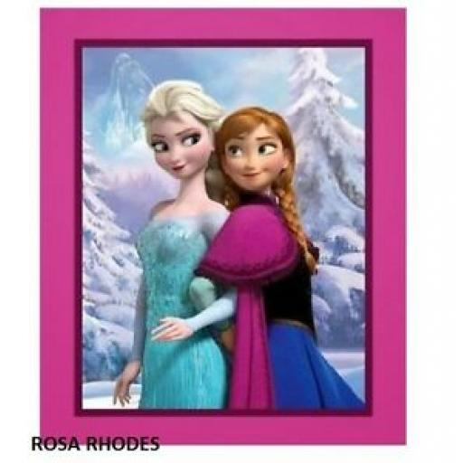 NUTEX PATCHWORK FABRIC - DISNEY FROZEN - ANNA AND ELSA PANEL