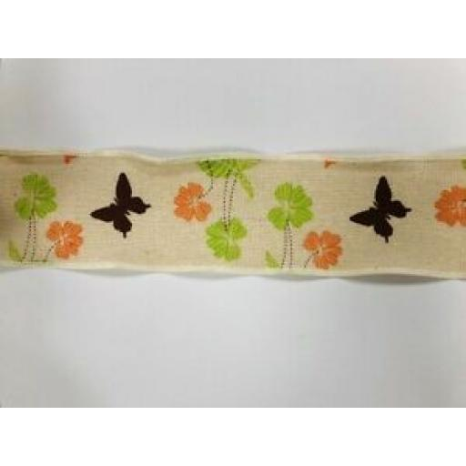 60mm BURLAP HESSIAN VINTAGE BUTTERFLY RIBBON