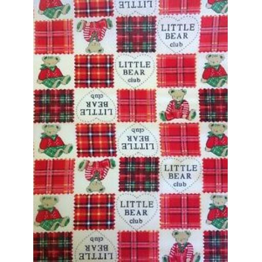 LITTLE TEDDY CLUB 100% COTTON POPLIN FABRIC - VARIOUS COLOURS