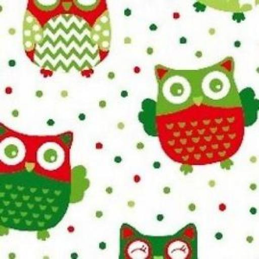 NUTEX PATCHWORK FABRIC - CHRISTMAS HAPPY OWL -WHITE - 36730 -109