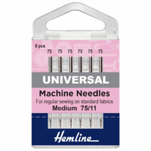 Hemline Sewing Machine Needles: UNIVERSAL : 75/11: 5 Pieces