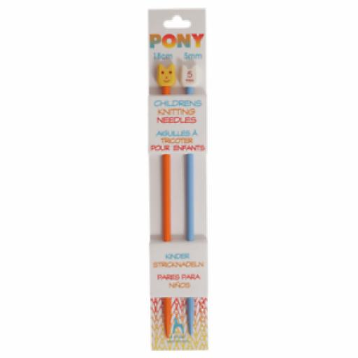 Pony Single-Ended: Plastic: Coloured: Children's: 18cm x 5.00mm: Orange/Blue