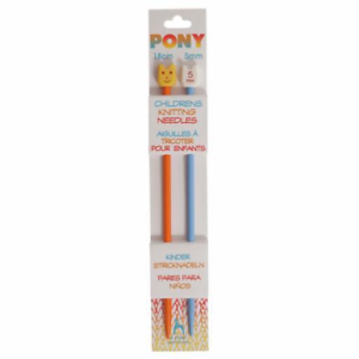 Pony-Single-Ended-Plastic-Coloured-Children-039-s-18cm-x-5-00mm-Orange-Blue