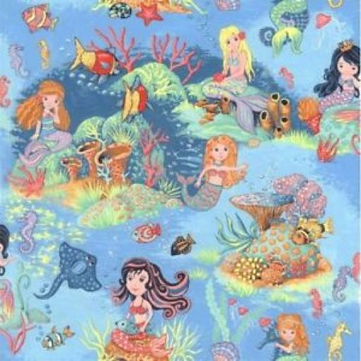 NUTEX PATCHWORK FABRIC - MERMAIDS - 89870