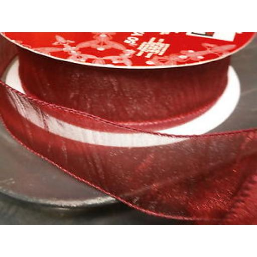 CHRISTMAS WIRE EDGED RIBBON - DEEP RED