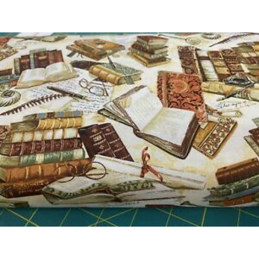 NUTEX PATCHWORK FABRIC - VICTORIAN VINTAGE Col. 105 BOOKS (80340)