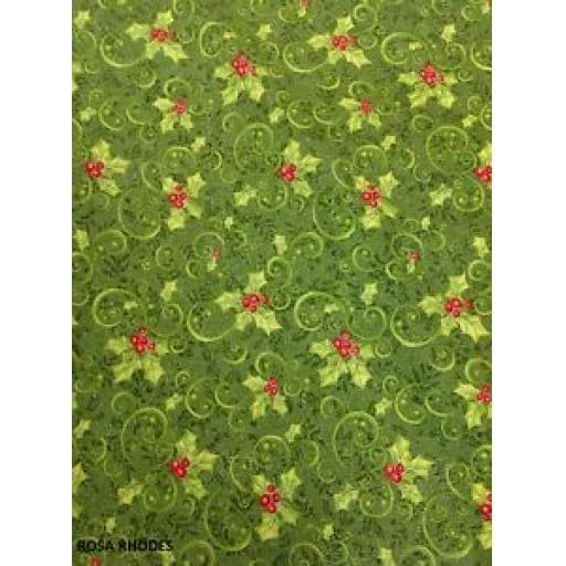 EBOR PATCHWORK FABRIC - CHRISTMAS HOLLY - 847M-42