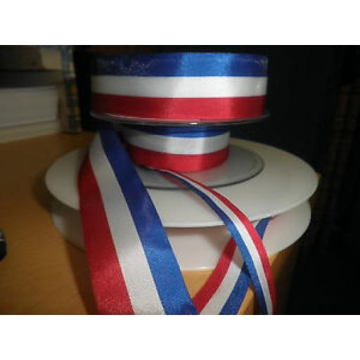 2m x PATRIOTIC STRIPE RIBBON - 3 SIZES AVAILABLE RED/WHITE/BLUE