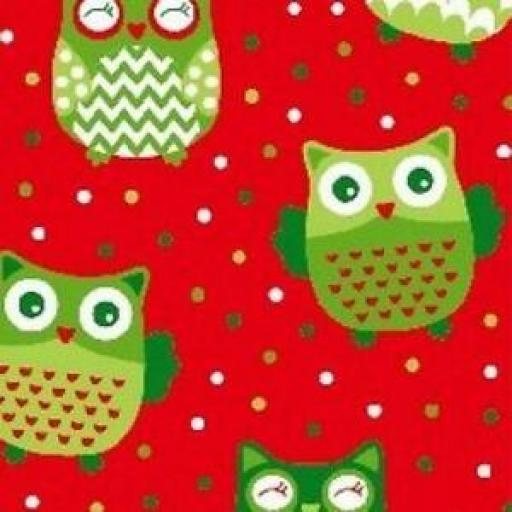 NUTEX PATCHWORK FABRIC - CHRISTMAS HAPPY OWL - OWL RED 36730 -110