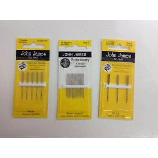 JOHN JAMES MACHINE NEEDLES - SUPER STITCH 90/14 - BALL POINT 80/11