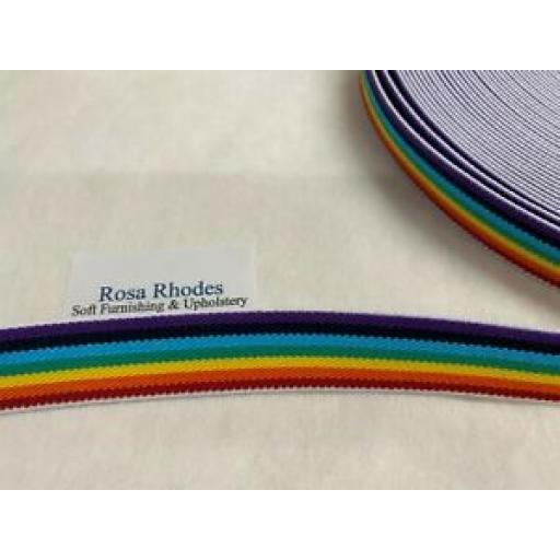 1m x 25mm BRIGHT COLOURED RAINBOW ELASTIC
