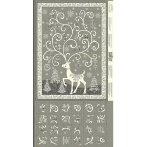 MAKOWER REINDEER GREY ADVENT CHRISTMAS PANELS - 2110