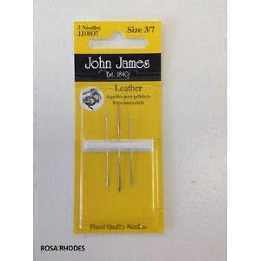 JOHN JAMES LEATHER NEEDLES - SIZE 3/7