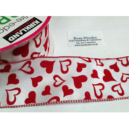CHRISTMAS WIRE EDGED RIBBON - GLITTERY FLOCK RED HEARTS