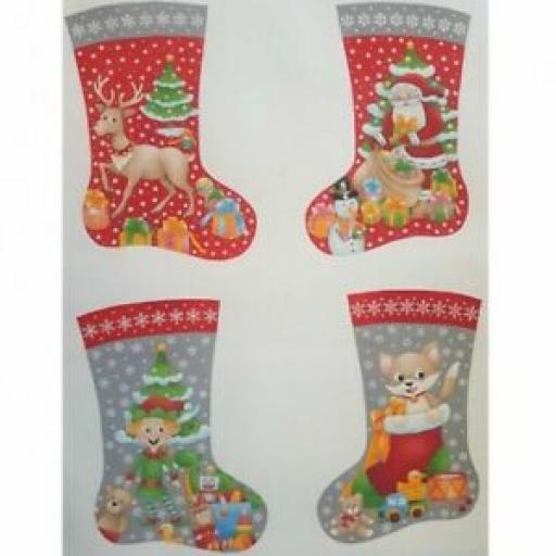 NUTEX MERRY SANTA CHRISTMAS STOCKING PANEL - 80170