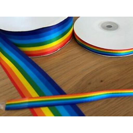 5 metres x RAINBOW RIBBON - 10mm-15mm-25mm-40mm