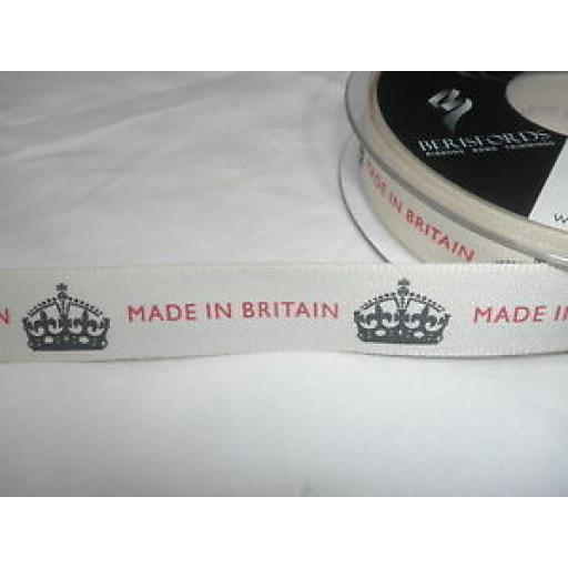 1m x 15mm MADE IN BRITAIN RIBBON - (CREAM/BLACK/RED)