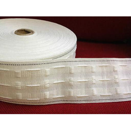 "1m x 3"" CURTAIN PENCIL PLEAT HEADING TAPE (WOVEN) FIRE RETARDANT"