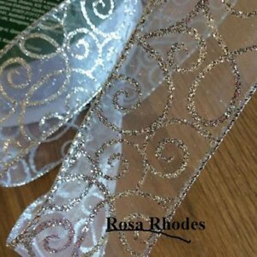 CHRISTMAS WIRE EDGED RIBBON - SILVER SPARKLEY SCROLLS