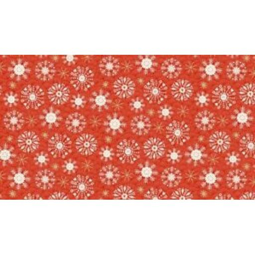 MAKOWER SNOWFLAKE MERRY CHRISTMAS PATCHWORK FABRIC - 2115 - RED OR GREEN