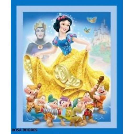 NUTEX PATCHWORK FABRIC -DISNEY'S SNOW WHITE AND THE SEVEN DWARFS PANEL - 37160