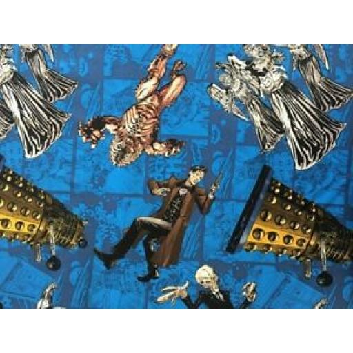 SPRINGS CREATIVE PATCHWORK/CRAFT FABRIC - DR WHO CHARACTERS - 54492