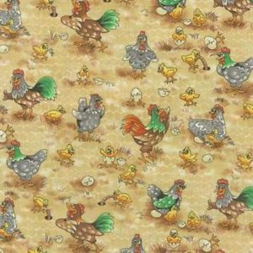 NUTEX 100% COTTON PATCHWORK FABRIC - THE FUNNY FARM - CHOOKS