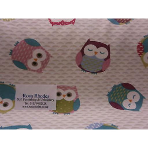 FRYETTS' OWLS MULTI COLOURED CURTAIN/BLINDS/CUSHIONS FABRIC