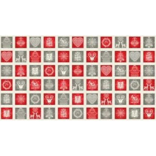 MAKOWER PATCHWORK FABRIC - CHRISTMAS SCANDI SQUARES - 2132