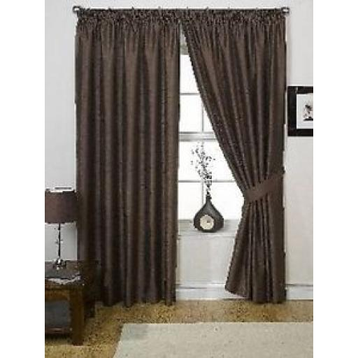 "ONE PAIR LINED FAUX SILK PENCIL PLEAT CURTAINS - CHOCOLATE 66"" x 90"