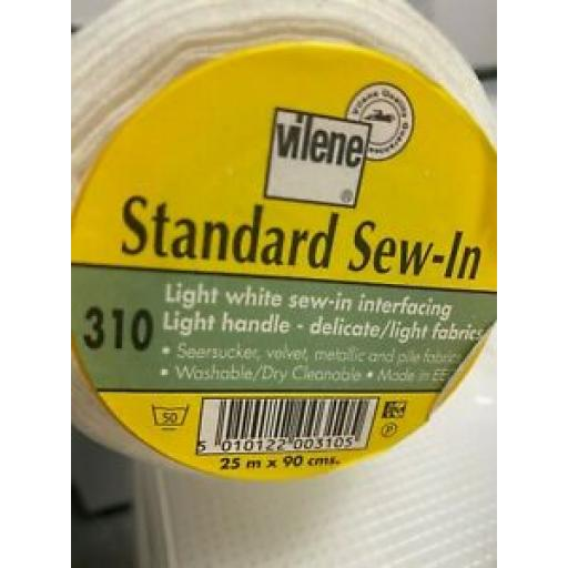 1m X STANDARD SEW-IN 310 LIGHT WHITE INTERFACING