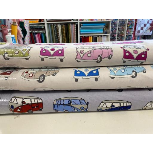 CAMPER VANS FABRIC - 100% COTTON DUCK - 3 VARIATIONS